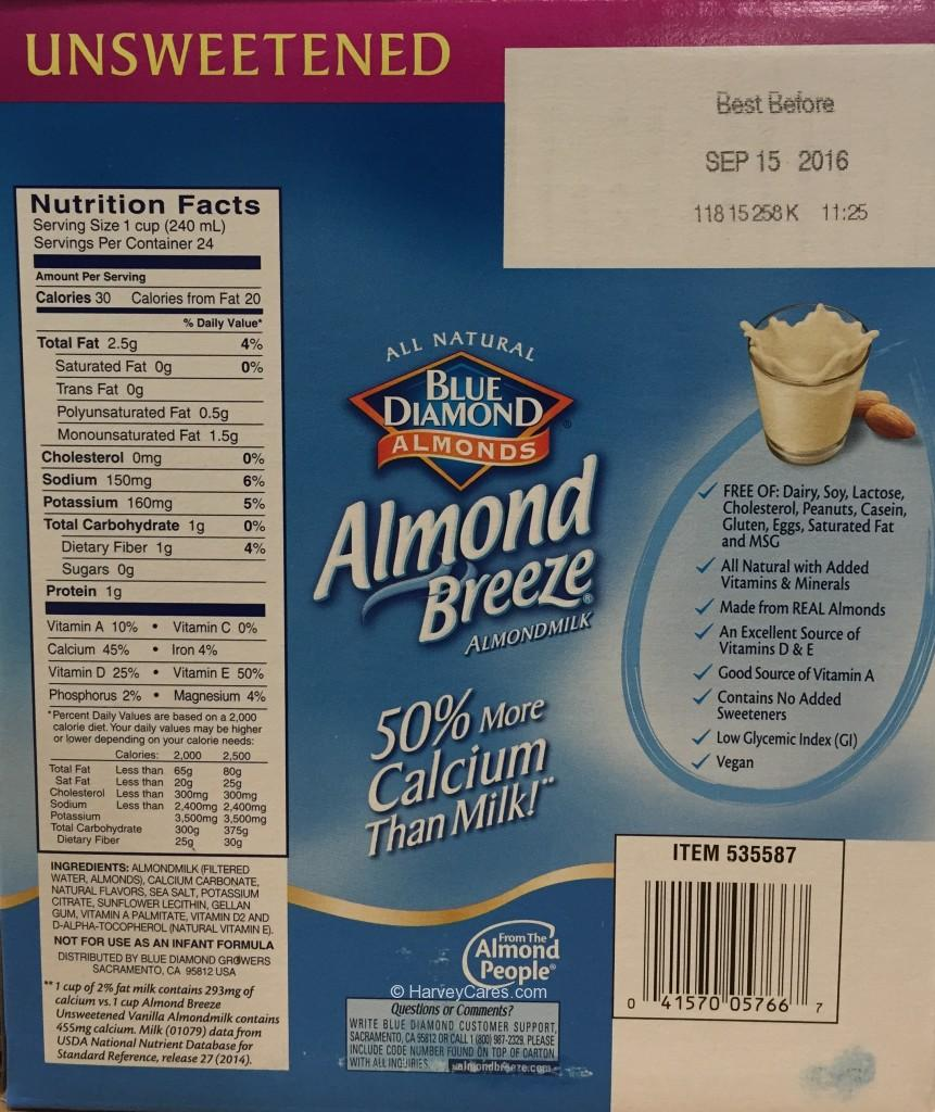 Blue Diamond Almond Breeze Nutrition Facts Ingredients
