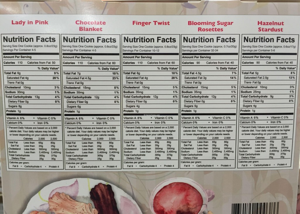 Chris's Assorted Butter Cookies Side Panel Nutrition Facts