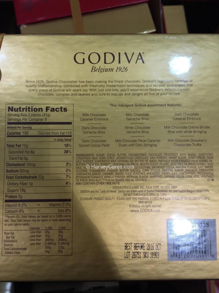 Godiva Belgian Assorted Chocolates Holiday Box Back Panel Description Nutrition Facts