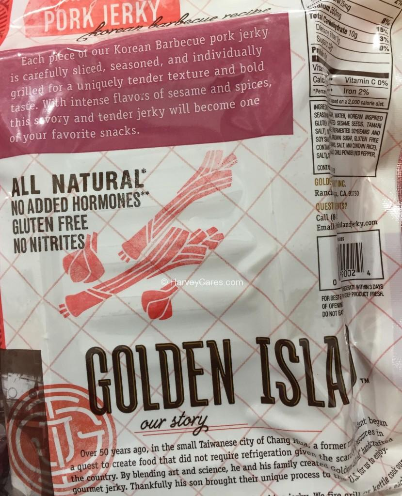 Golden Island Korean Barbecue Pork Jerky Back Panel Description