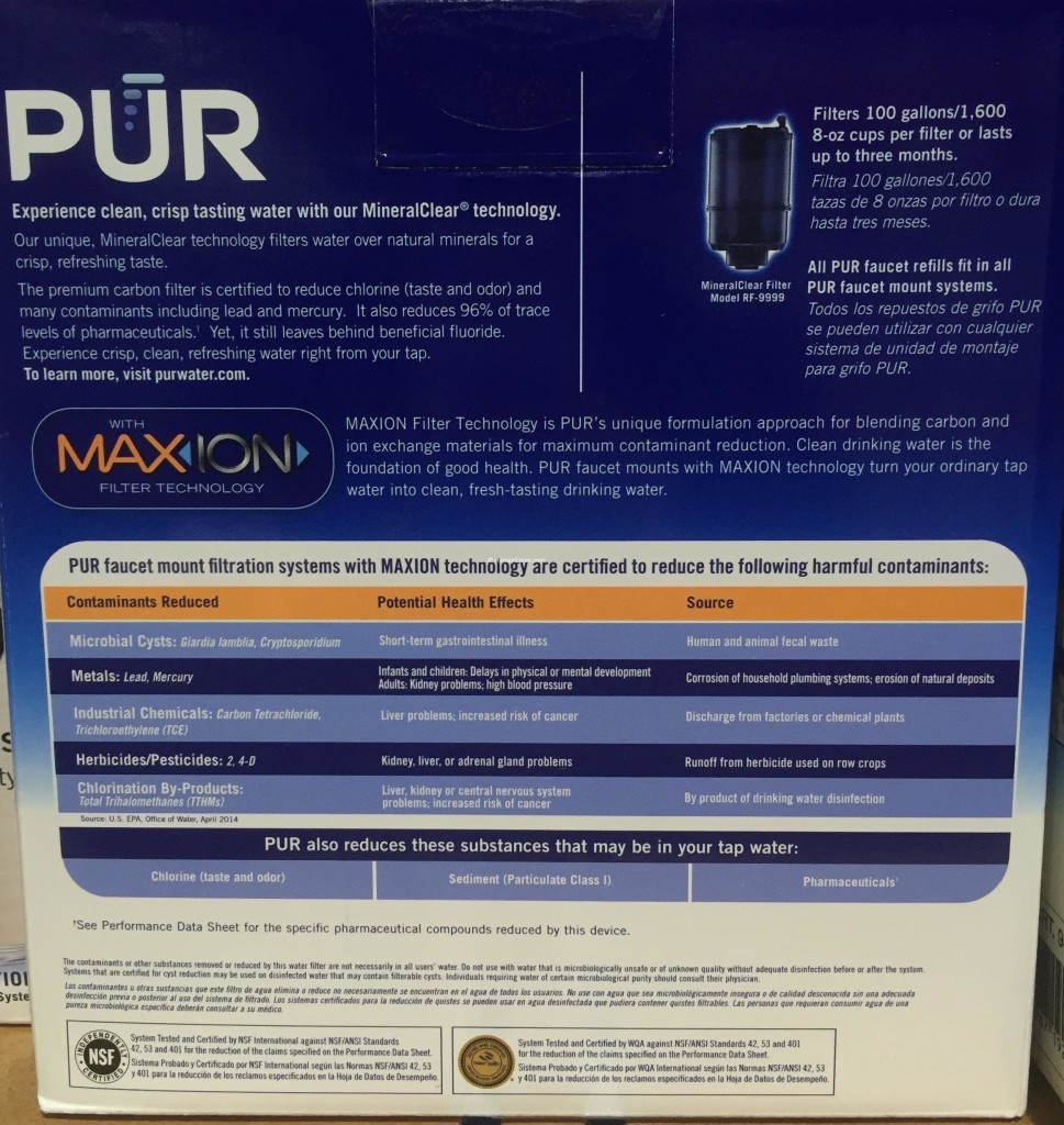 PUR MaxION Faucet Mount Water Filter Back Panel Description