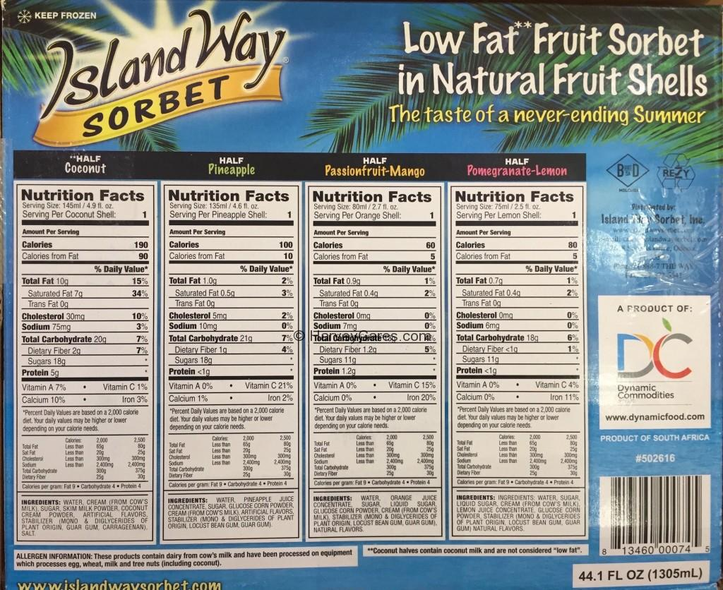 Island Way Fruit Shell Sorbet Ingredients List Nutrition Facts Product Description Product Details