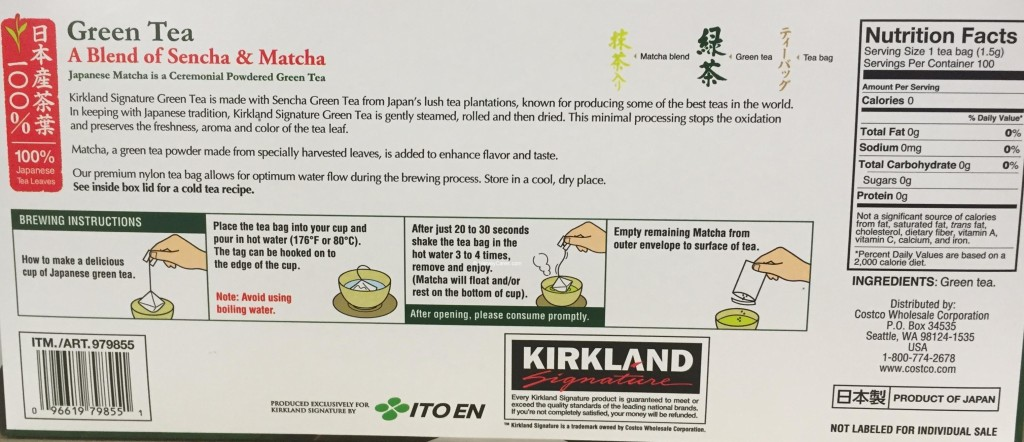 Kirkland Signature Japanese Green Tea Back Panel Description