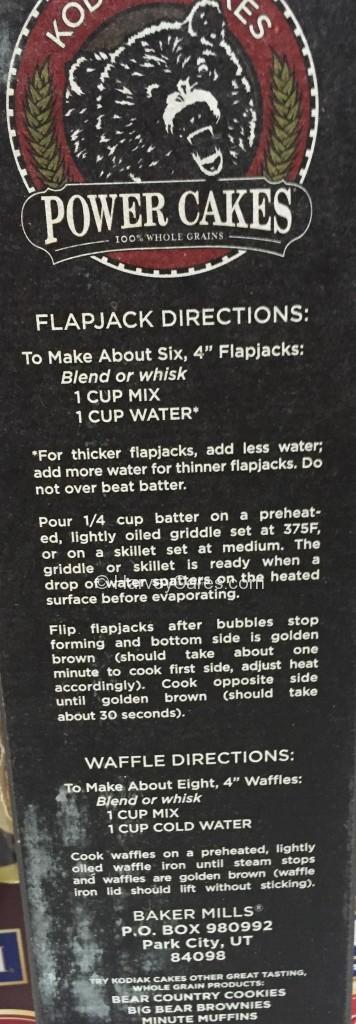 Kodiak Power Cakes Protein Flapjack Waffle Mix Side Panel Directions Instructions