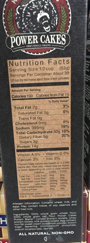 Kodiak Power Cakes Protein Flapjack Waffle Mix Side Panel Nutrition Facts Ingredients