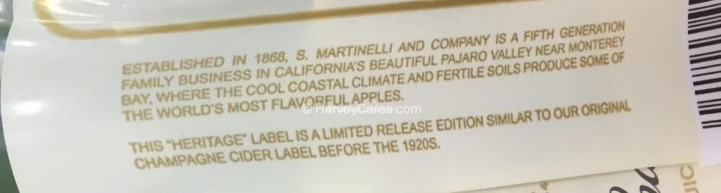 Martinelli's Sparkling Cider Side Panel Description