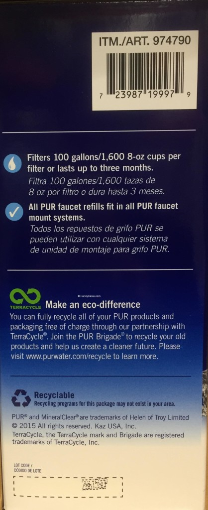 PUR MaxION Faucet Mount Replacement Water Filters Side Panel Instructions 2 Eco-Difference All Systems Compatible