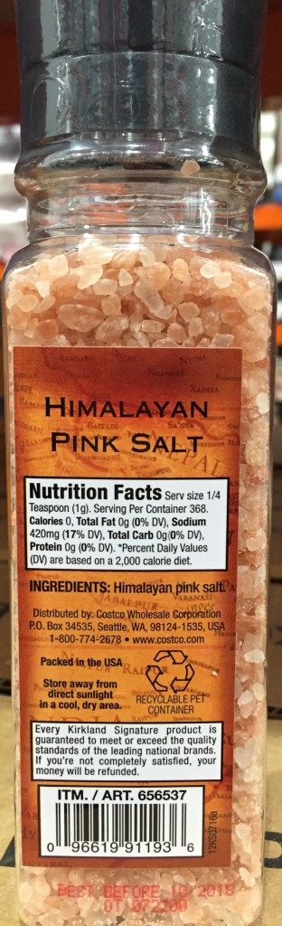 Kirkland Himalayan Pink Salt Bottle Back View Panel Description Nutrition Facts Ingredients