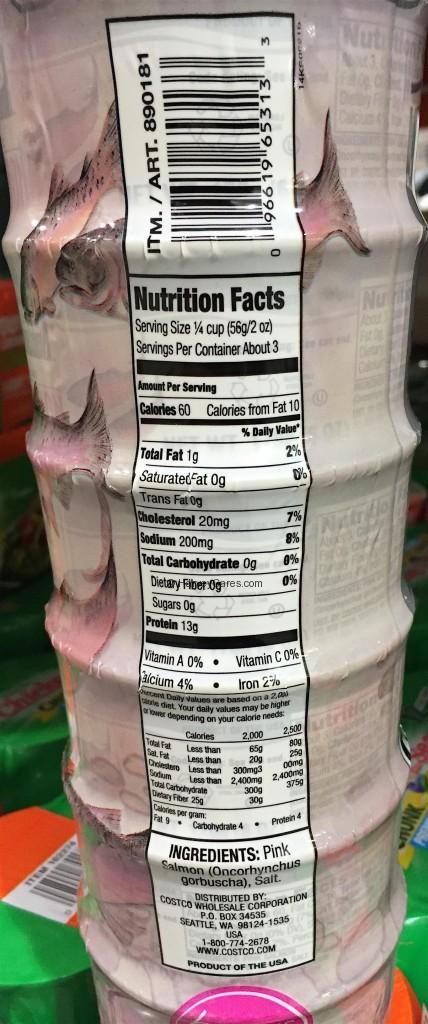 Kirkland Wild Alaskan Boneless Skinless Pink Salmon Back Packaging Nutrition Facts Ingredients List