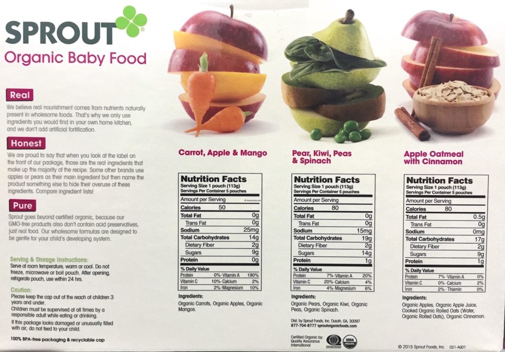 Sprout Organic Baby Food Variety Pack Back Panel Description Ingredients Nutrition Facts