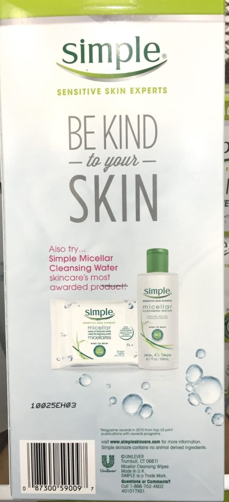 Simple Micellar MakeUp Remover Wipes Back Panel Description Ingredients Item