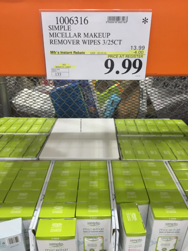 Simple Micellar MakeUp Remover Wipes Costco Price Panel Cost Price