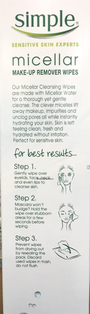 Simple Micellar MakeUp Remover Wipes Side Panel Description Best Results Directions Usage
