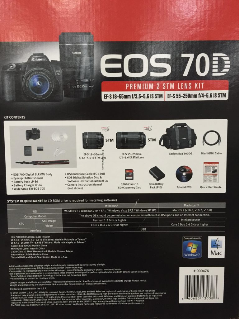 Canon EOS 70D Digital SLR Camera Bundle Side Panel Contents Overview Configurations and Specs