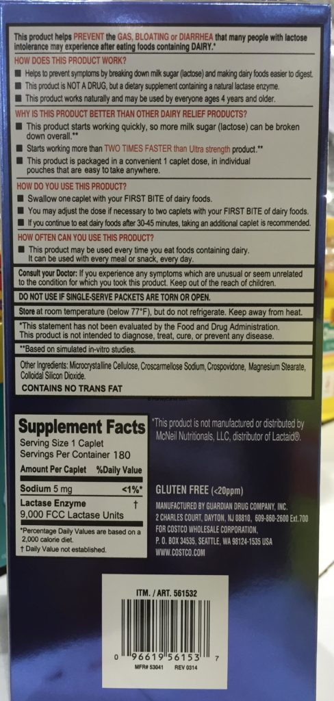 Kirkland Fast Acting Lactase Back Panel Description Supplement Facts Nutrition Ingredients Usage Information