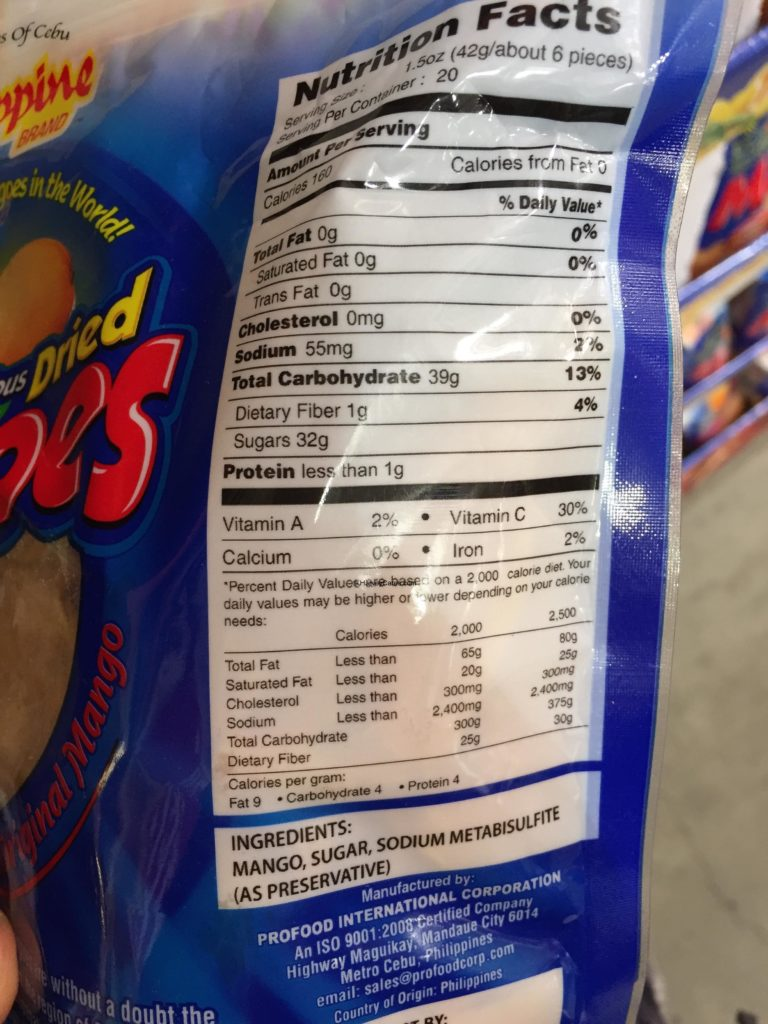 Philippine Brand Dried Mangoes Nutrition Facts Ingredients Serving Size