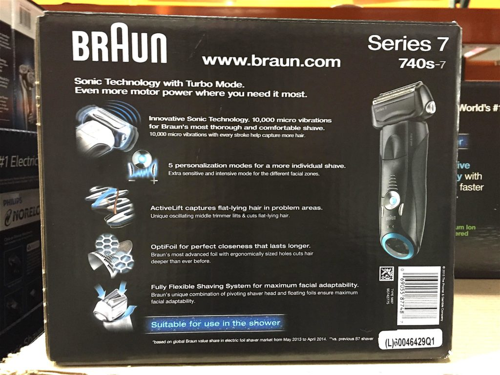 Braun Series 7 Sonic Wet Dry Electric Shaver Back Panel Description Product Features