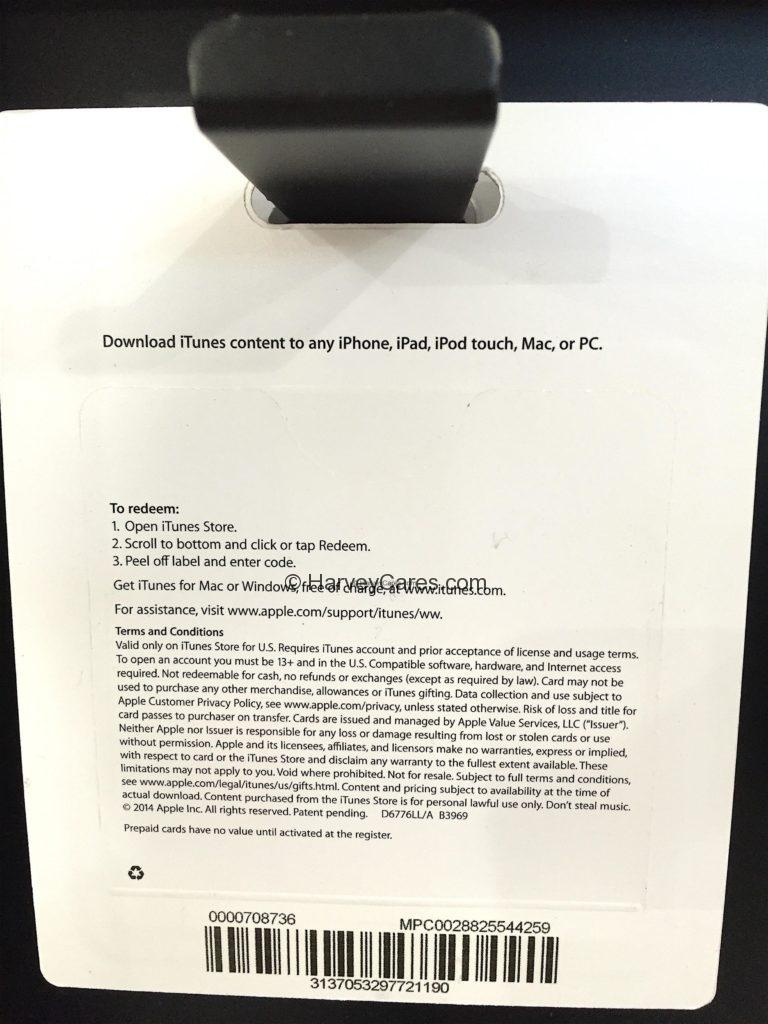 Costco iTunes Gift Card Discount Product Details and Description Usage Agreement