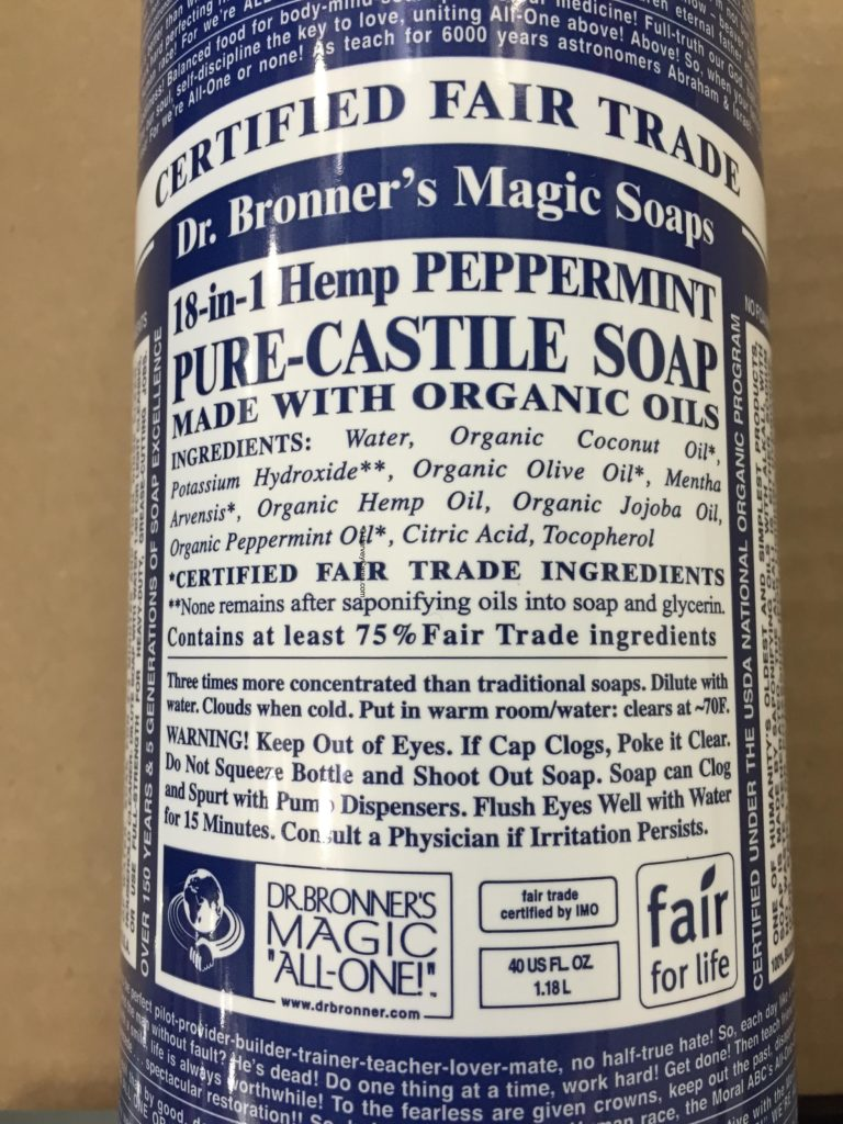 Dr. Bronner's Magic Pure Castile Peppermint Soap Description Ingredients Product Information Background Usage Directions