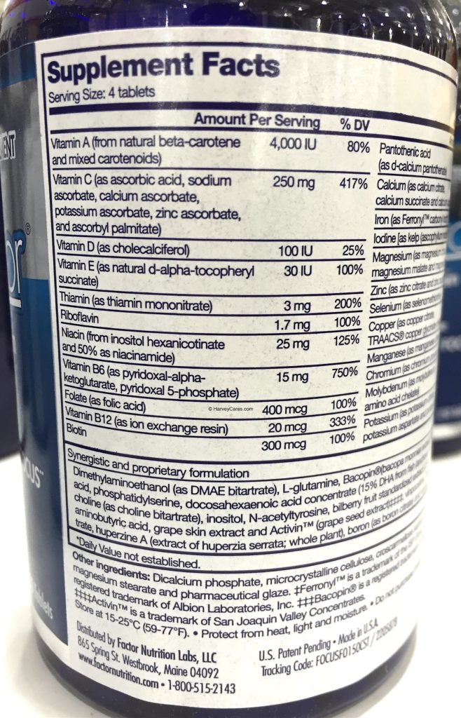 Focus Factor Nutrition Supplement for the Brain Supplement Facts Serving Size Ingredients List