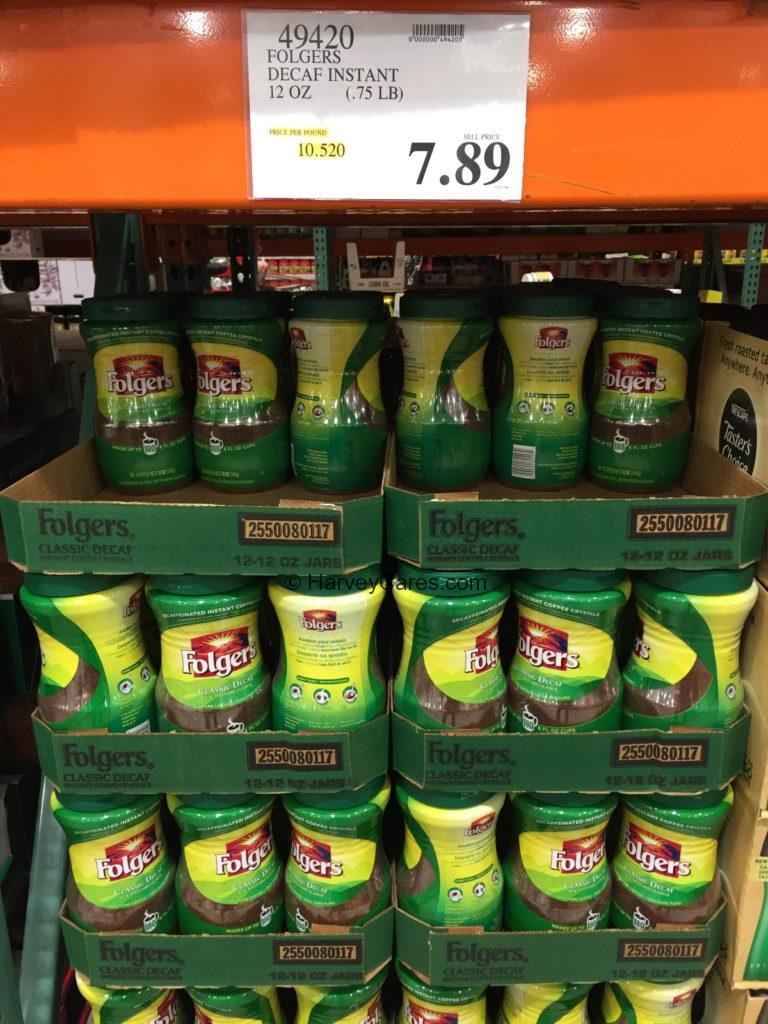 Folgers Instant Decaf Coffee Crystals Costco Price Panel