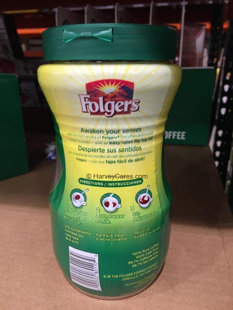 Folgers Instant Decaf Coffee Crystals Product Back Panel Instructions Information and Label