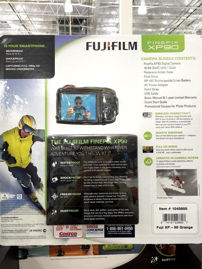 Fujifilm Finepix XP90 Waterproof Camera Back Panel Product Details Features and Functions