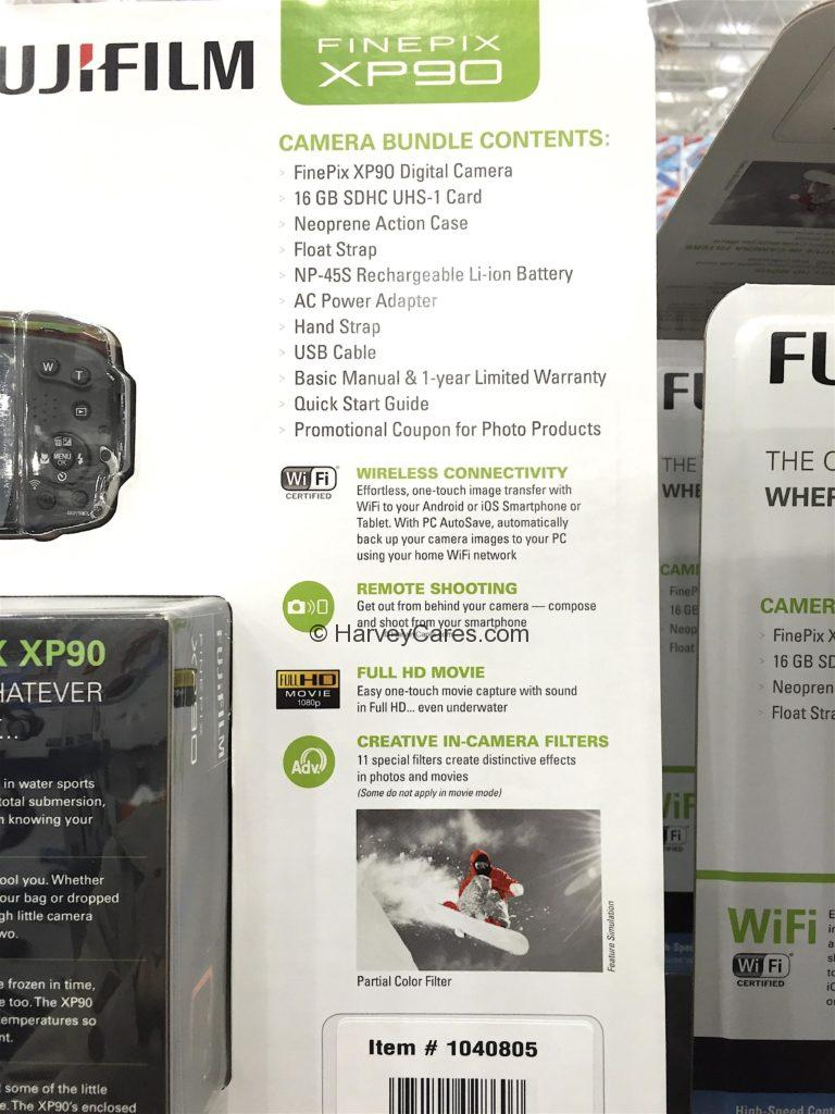 Fujifilm Finepix XP90 Waterproof Camera Bundle Contents What is Included