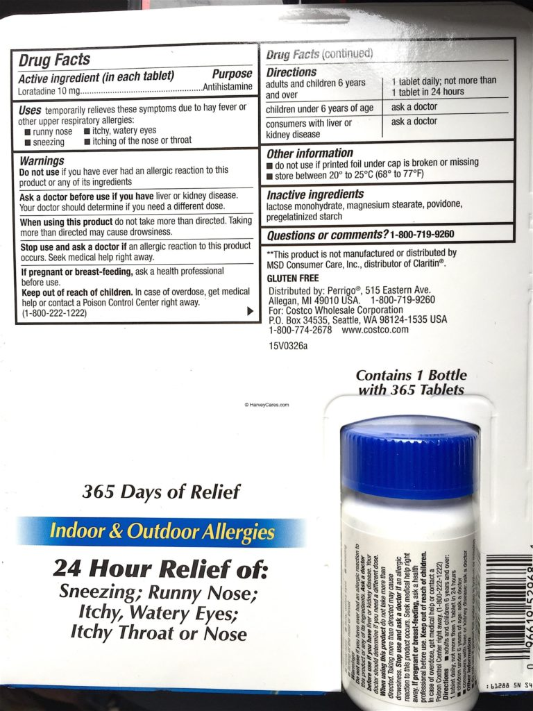 Kirkland AllerClear Non Drowsy Allergy Tablets Product Description Ingredients Usage Information