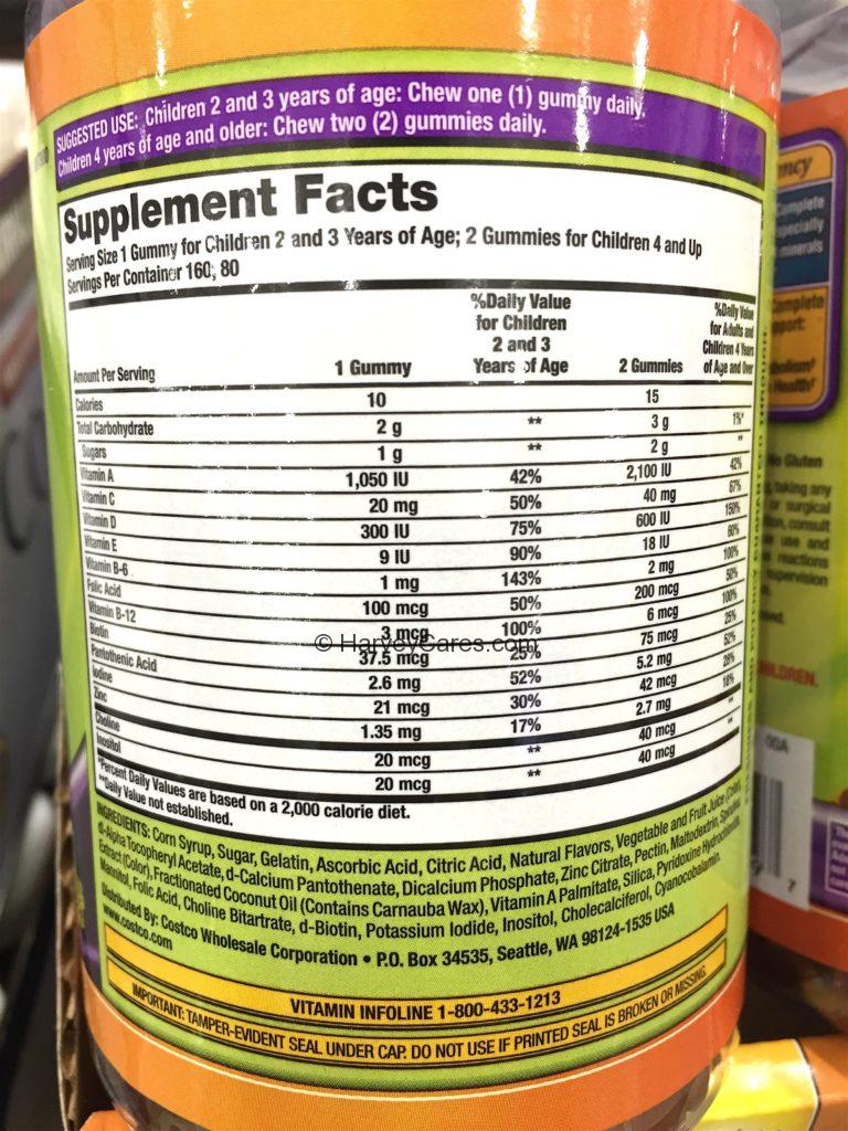 Kirkland Children's Complete Multivitamin Gummies Supplement Facts Ingredients List Product Information