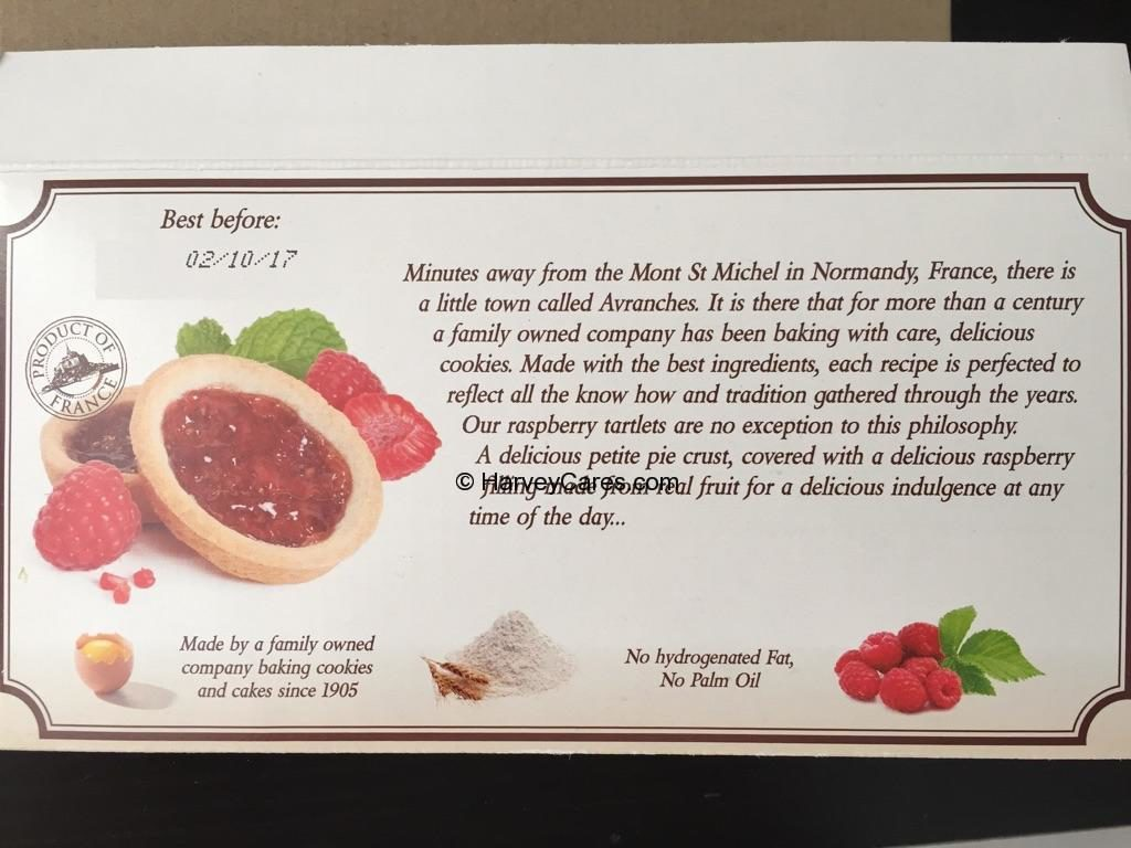 Le Chef Patissier French Raspberry Tartlets Individual Pack Back Panel Description Product Origin Story