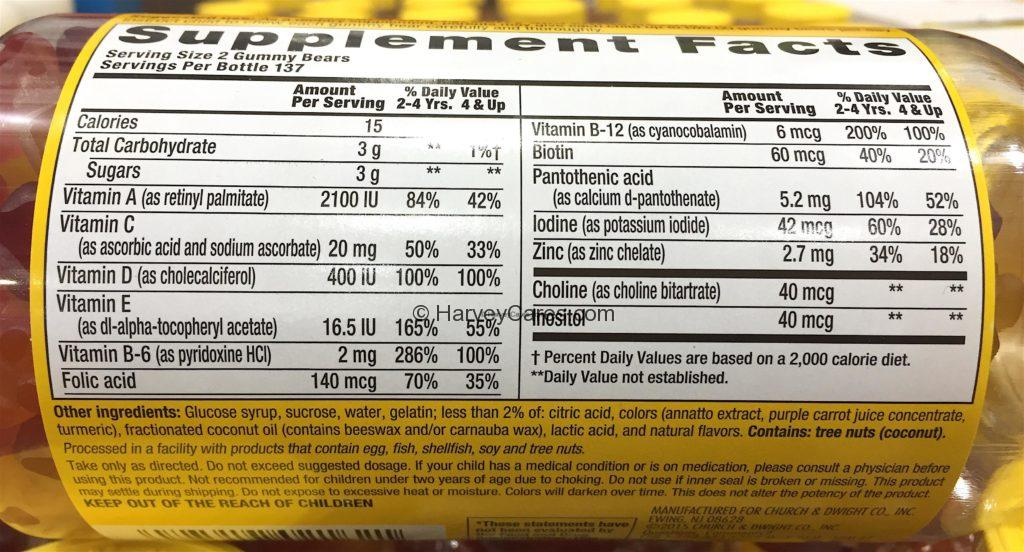 Lil Critter's Complete Multivitamin Gummy Vites Complete Supplement Facts and Ingredients List