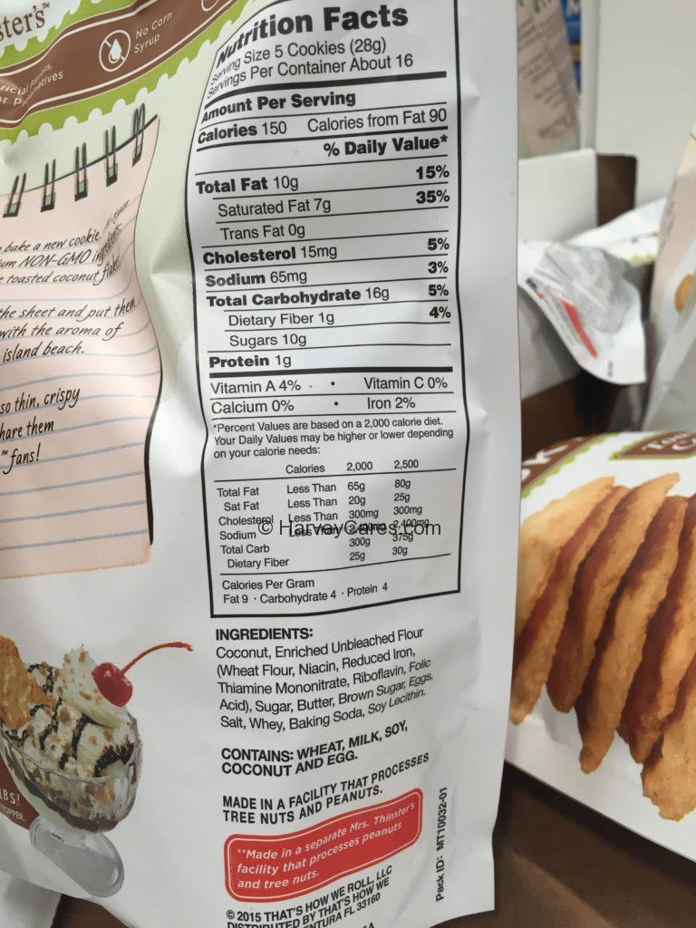 Mrs. Thinster's Toasted Coconut Cookie Thins Nutrition Facts Ingredients List Product Information