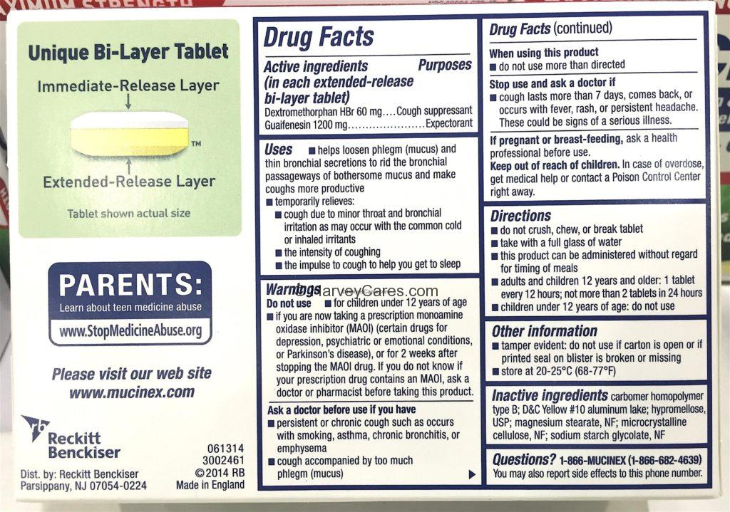 Mucinex DM Expectorant Cough Suppressant Drug Facts Product Information Ingredients About