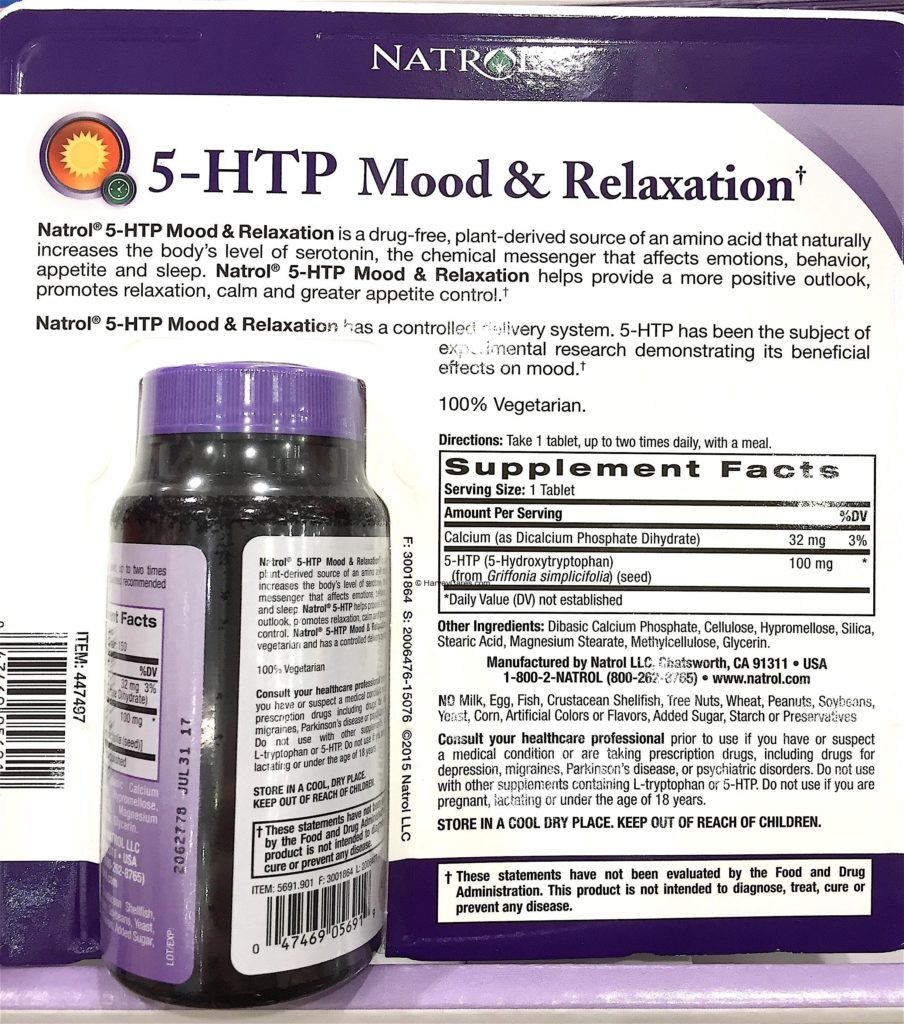 Natrol 5-HTP Mood Enhancer Support Tablets Back Panel Product Description Ingredients List Supplement Facts