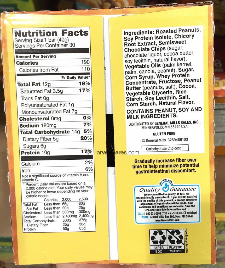 Nature Valley Chocolate Protein Chewy Bar Nutrition Facts Ingredients List Contents and Product Description Information