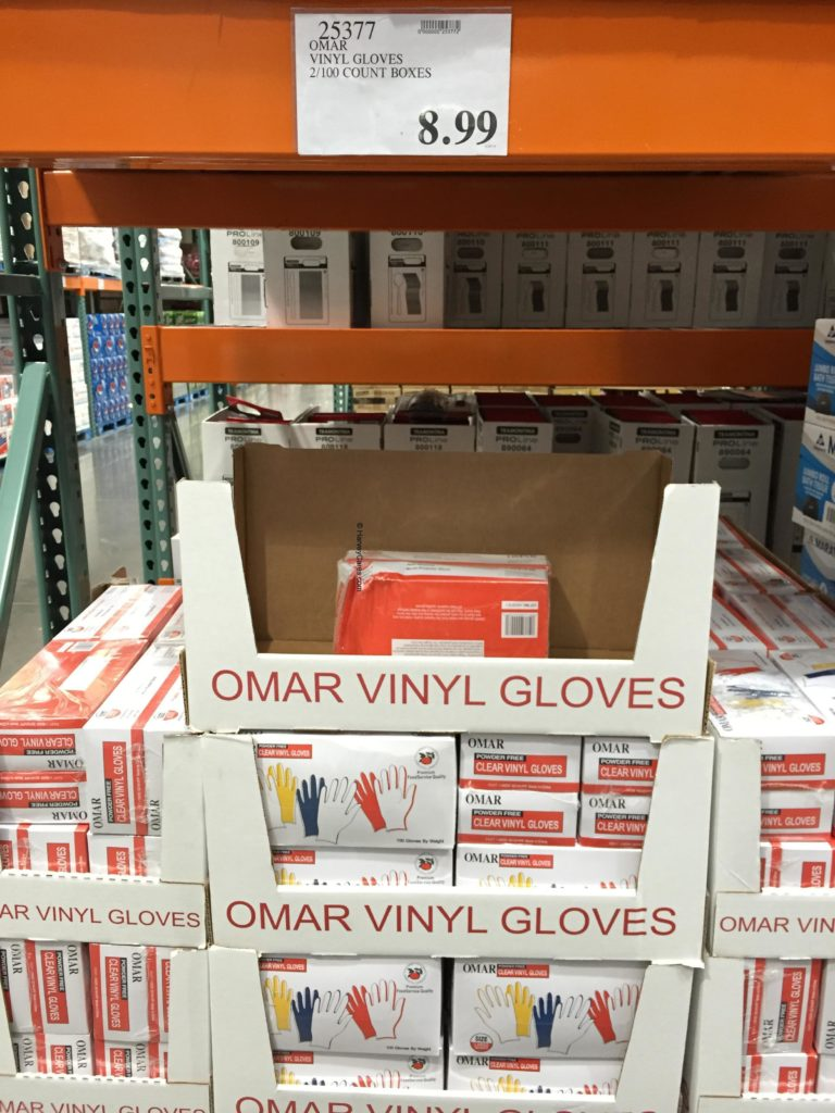 Omar Powder Free Clear Vinyl Gloves Costco Price Panel