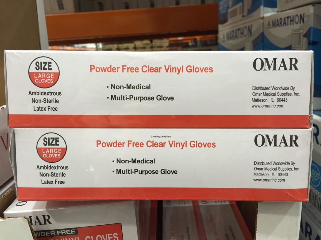 Omar Powder Free Clear Vinyl Gloves Side Panel Description Product Information