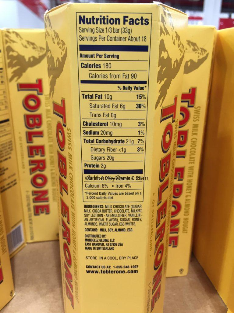 Toblerone Swiss Milk Chocolate Bars Nutrition Facts Ingredients List Origin and Information