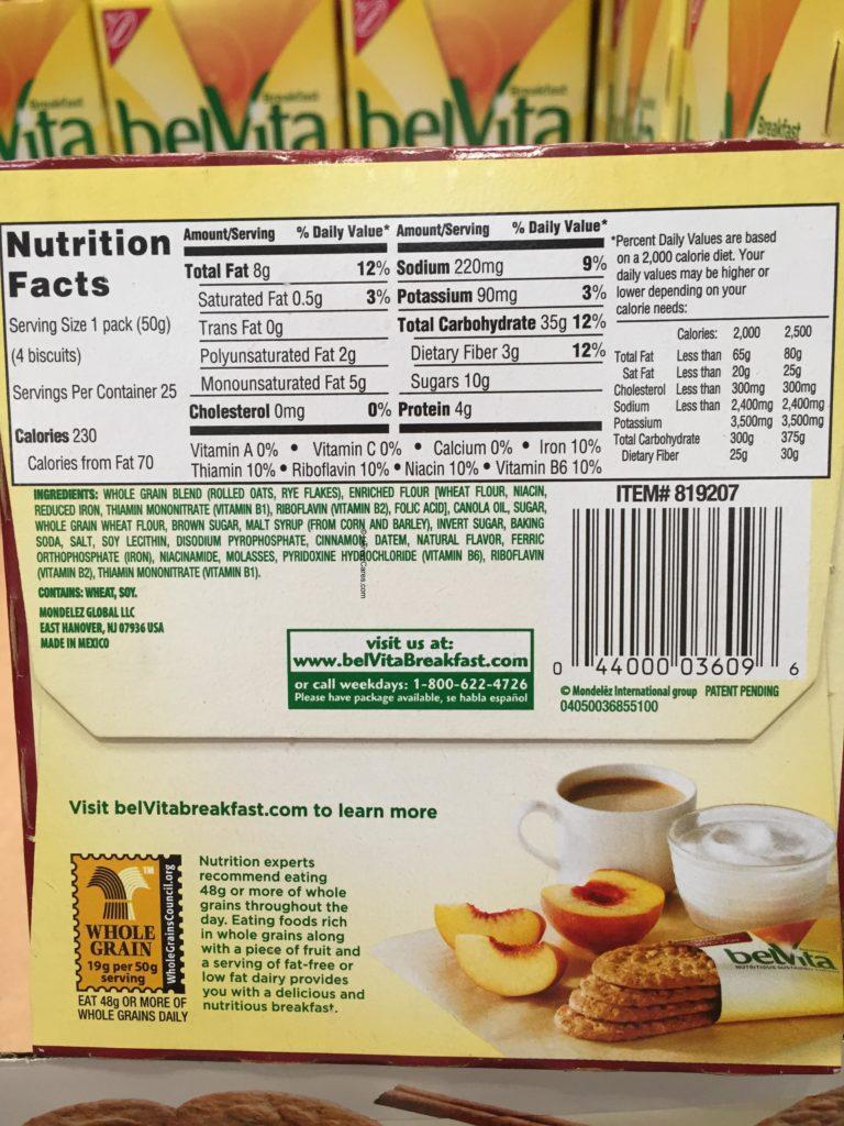 belVita Cinnamon Brown Sugar Breakfast Biscuit Cookies Ingredients List Nutritional Facts Back Panel Product Information