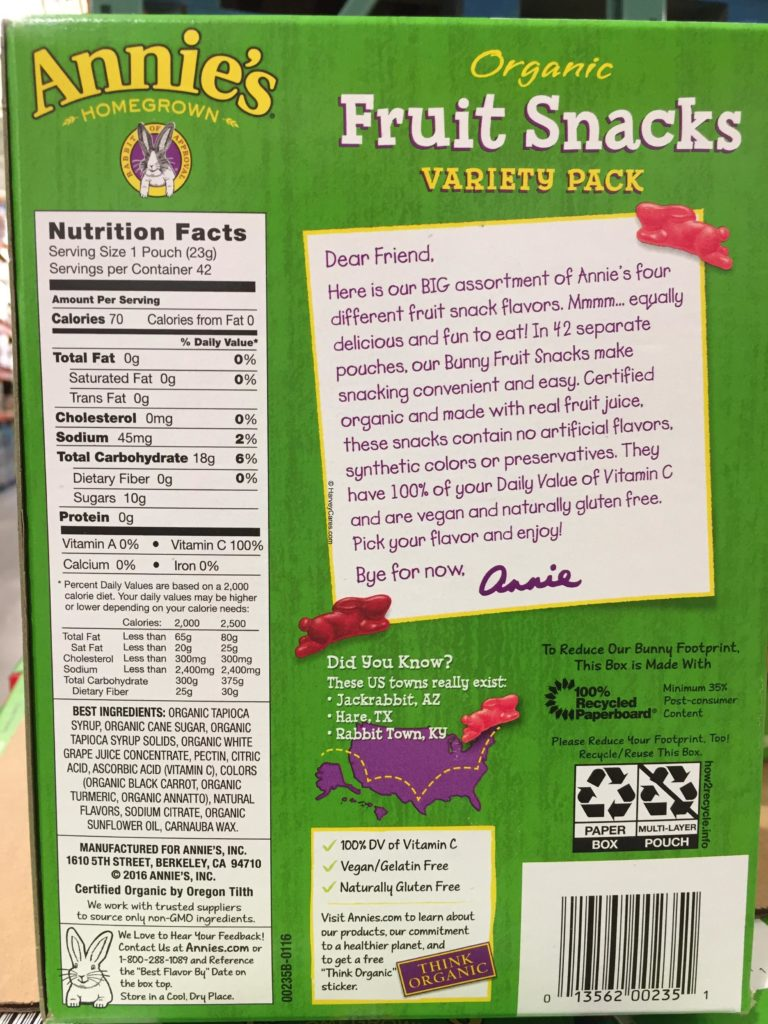 Annie's Homegrown Organic Fruit Snacks Nutrition Facts Ingredients List About the Product Background