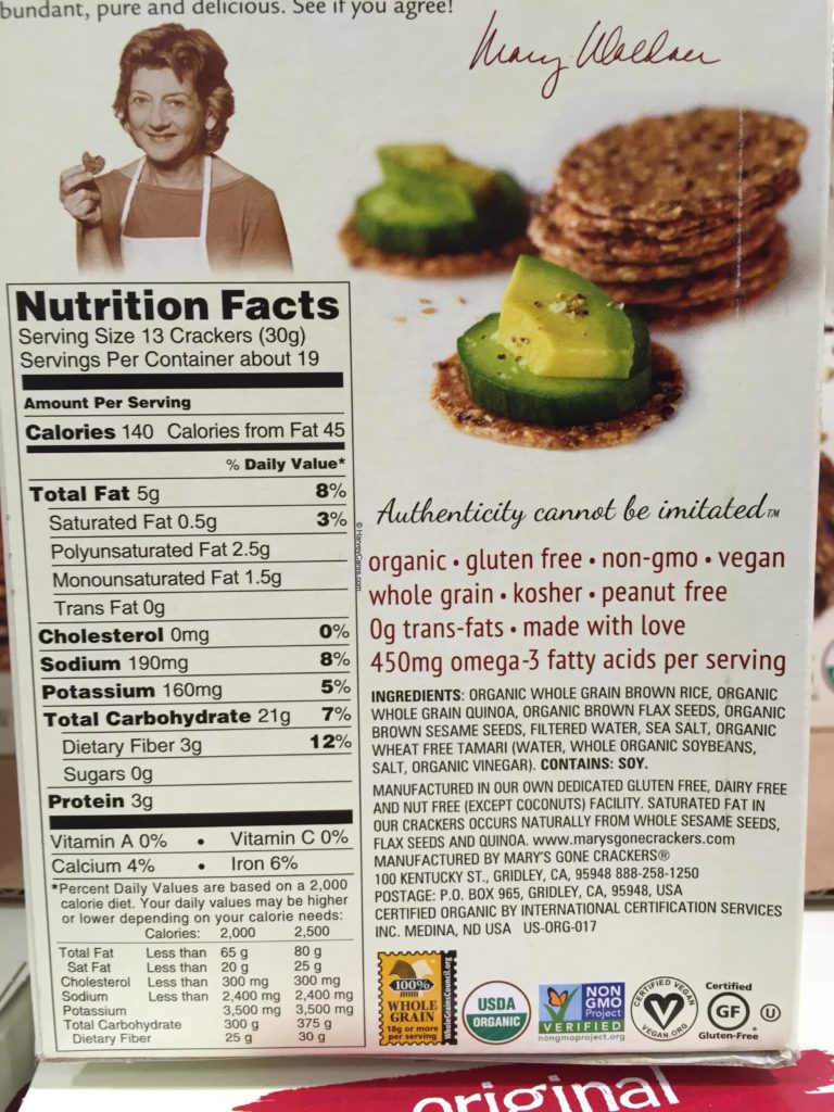Mary's Gone Crackers Organic Whole Grain Crackers Back Panel Description Nutrition Facts Ingredients List Detail