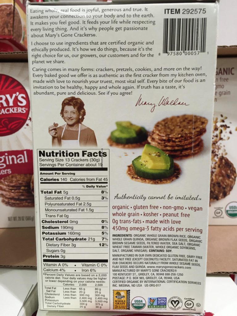 Mary's Gone Crackers Organic Whole Grain Crackers Back Panel Description Nutrition Facts Ingredients List