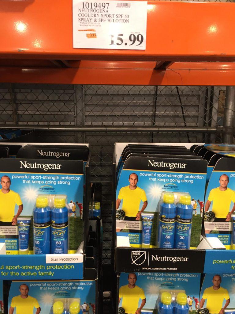 Neutrogena Cooldry Sport SPF 50 Sunscreen Set Costco Price Panel