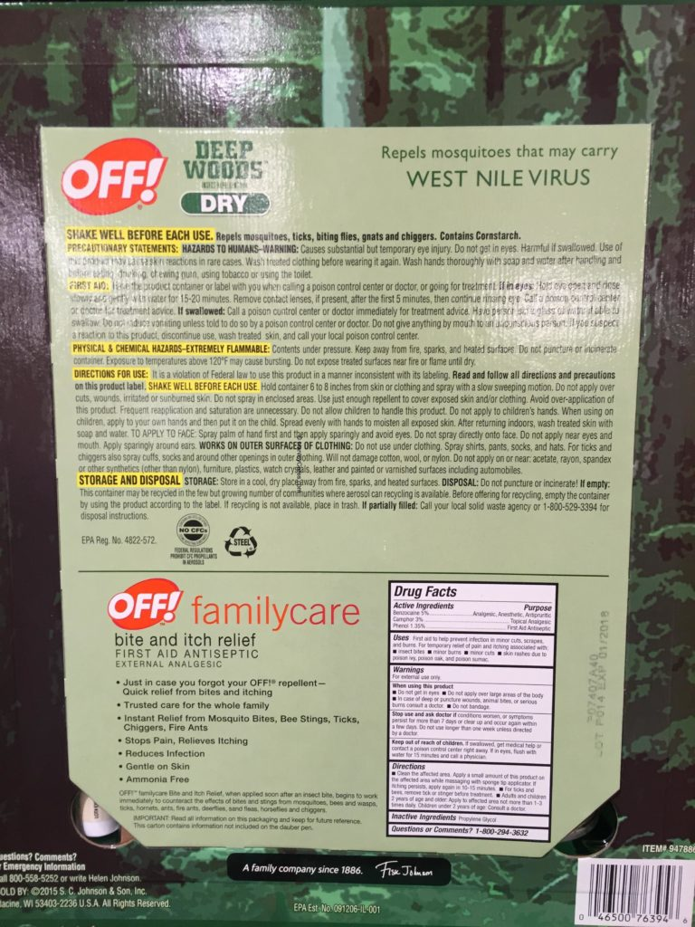 Off Deep Woods Dry Insect Repellent Back Panel Description Product Information Drug Facts Ingredients Familycare