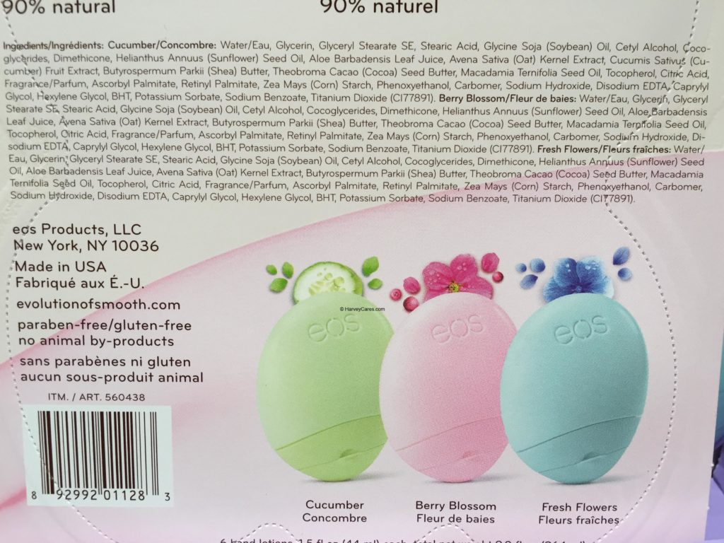 eos Travel Hand Lotion Ingredients List by Flavors