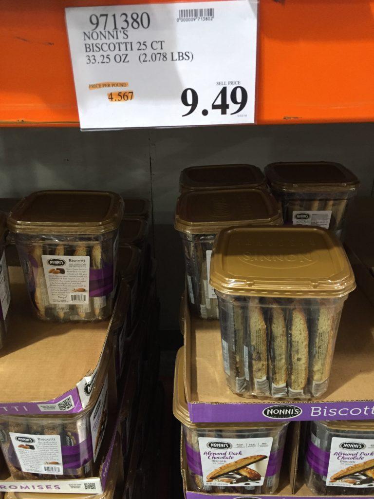 Nonni's Almond Chocolate Biscotti Costco Price Panel