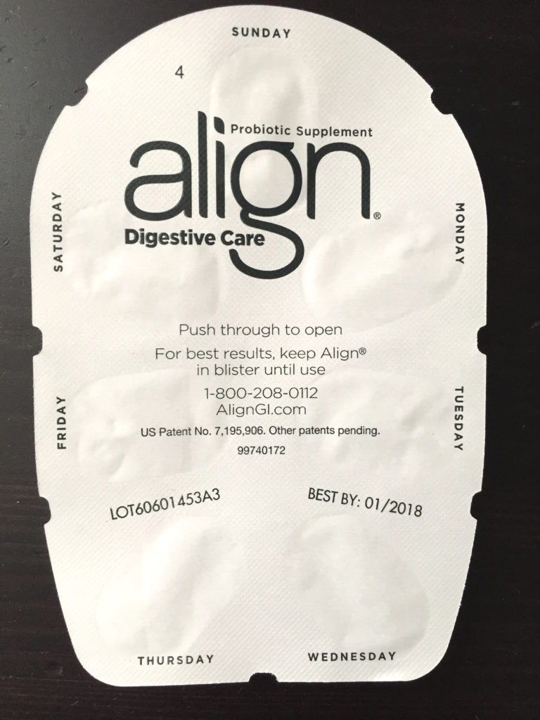Align Digestive Probiotic Supplement Actual Packet Tablet Front View