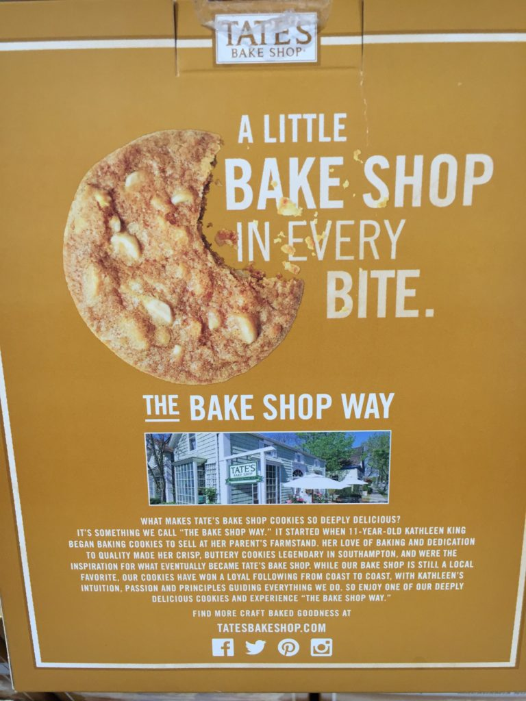 Tate's Crispy White Chocolate Macadamia Cookies Back Panel Product Description Bake Shop Way