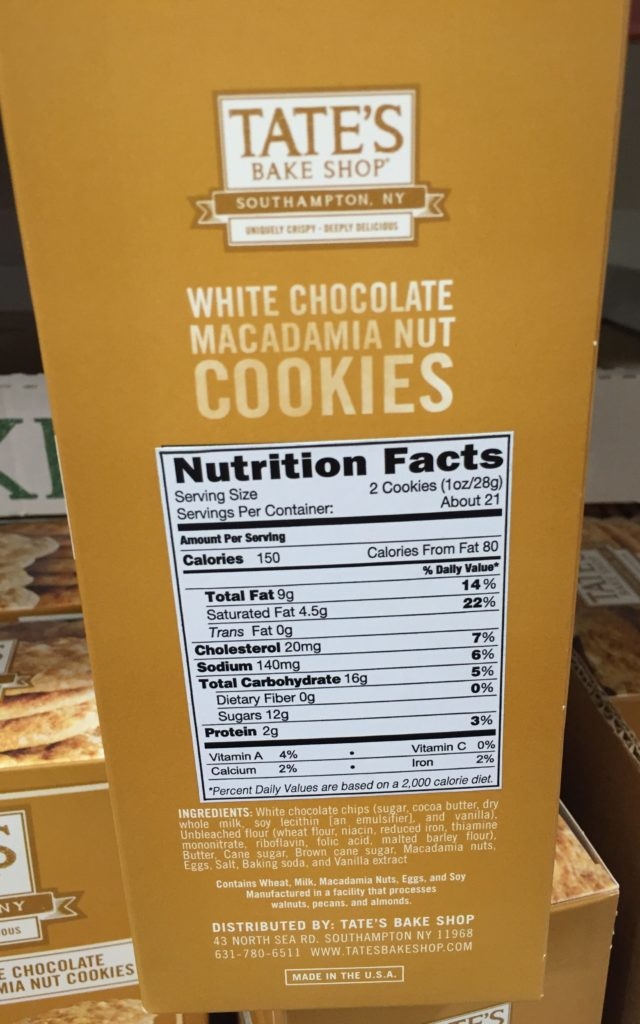 Tate's Crispy White Chocolate Macadamia Cookies Nutrition Facts Ingredients About Product